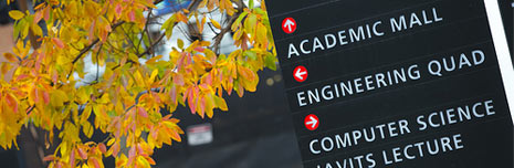 Sign on Stony Brook Campus during autumn