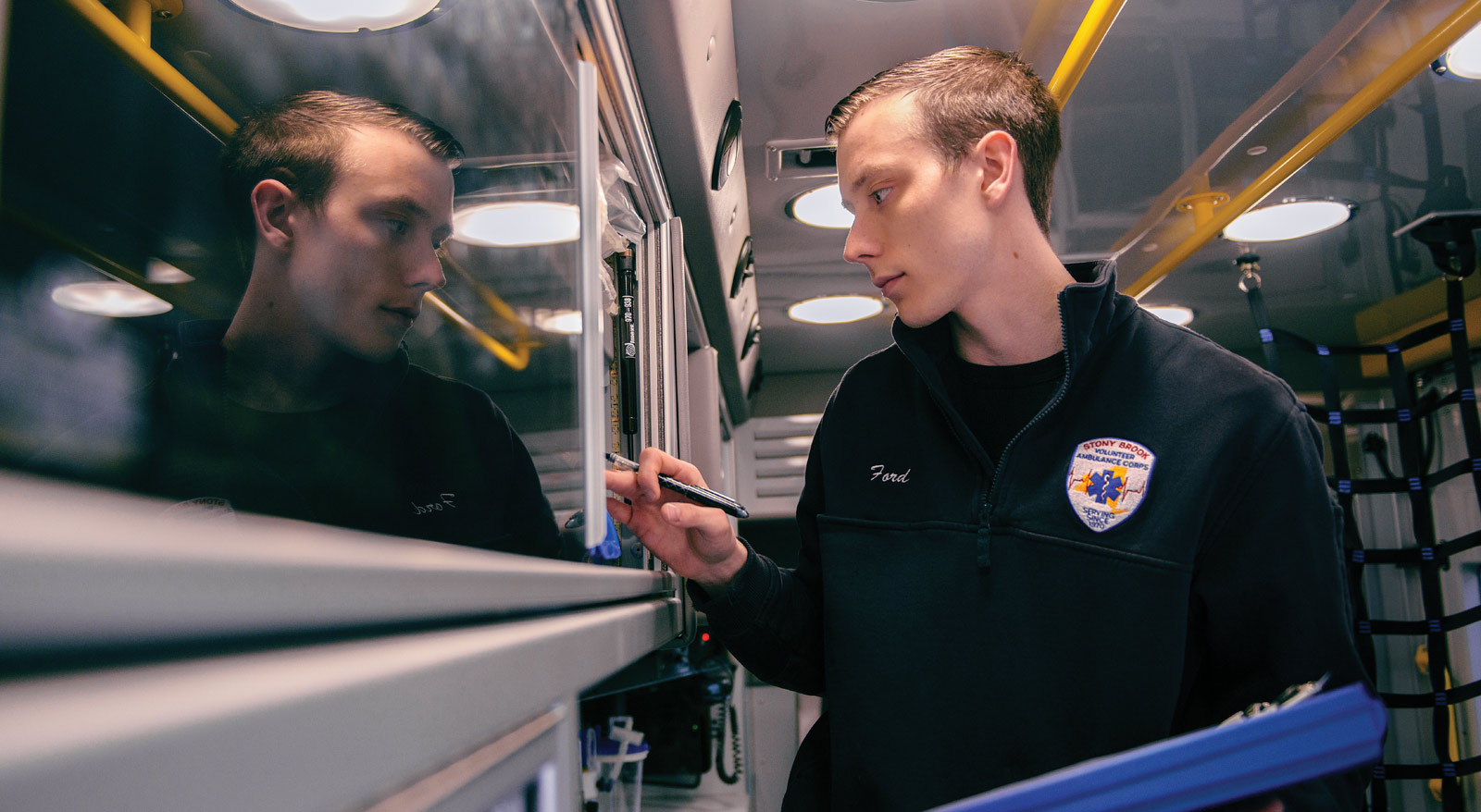En route to achieving his dream of working in medicine, Shane Ford '17 volunteers with the University's Ambulance Corps.