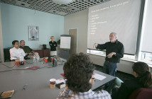 Graham Chedd and Marcy McGinnis lead a workshop called Introduction to Distilling Your Message