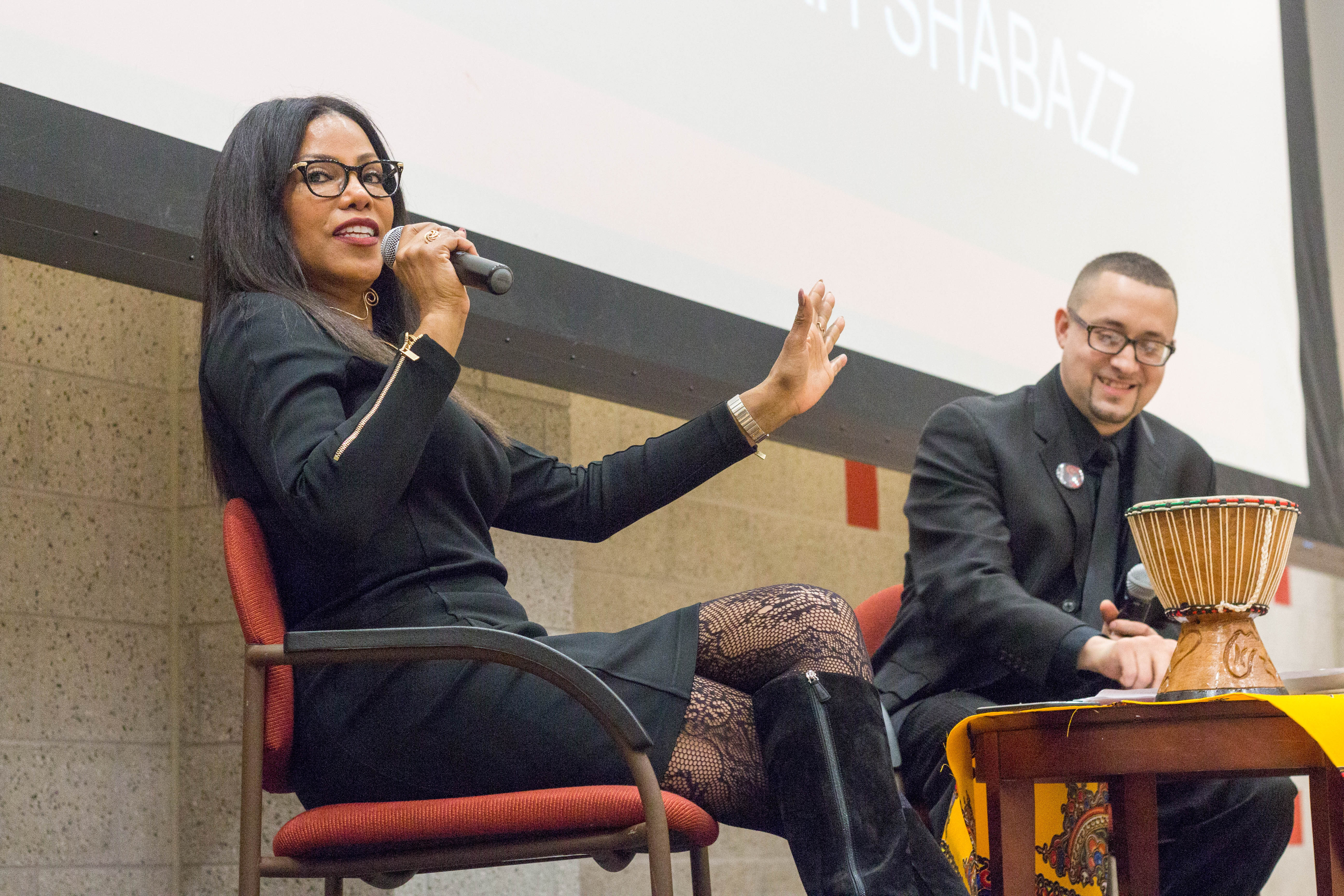 Activist Ilyasah Shabazz, the daughter of Malcolm X, was interviewed by Africana Studies Professor Zebulon Miletsky.