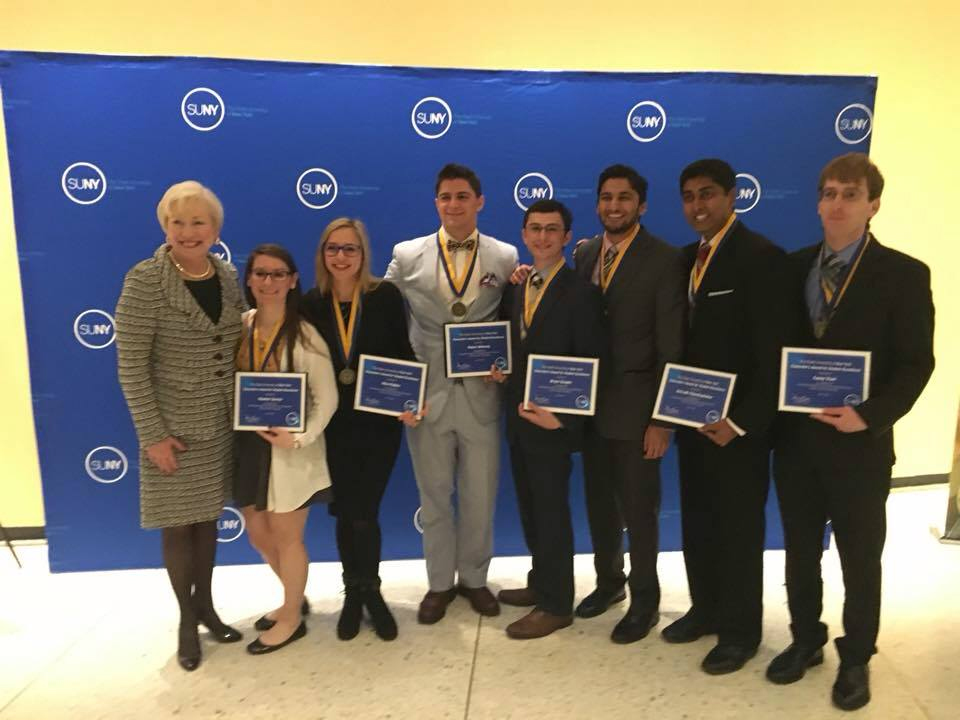 Pictured with SUNY Chancellor Zimpher are, left to right: Heather Savino, Alysa Rybkin, Robert Maloney, Bryan Szeglin, Ashwin Kelkar, Anidrudh Chandrashekar and Casey Vieni