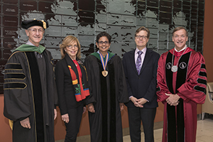 Stony Brook, NY; Stony Brook University Medical Center: Donoho Investiture Ceremony for Dr. Latha Chandran.  (L-R) Dr. Kenneth Kaushansky, Miki Donoho, Dr. Latha Chandran, David Donoho, and President Samuel L. Stanley, Jr