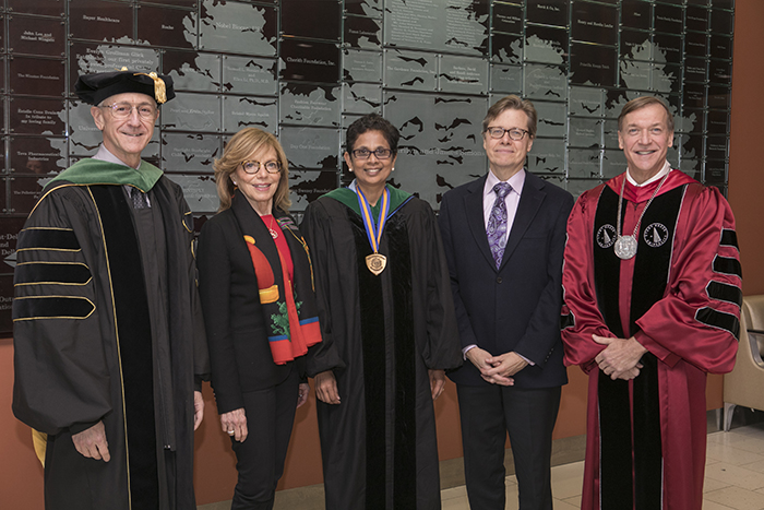Left to right: Kenneth Kaushansky, Miki Donoho, Latha Chandran, MPH, MD, David Donoho, President Samuel L. Stanley Jr.