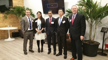Regional Stony Brook University competitors (left to right): Joseph Muller and Amna Haider of Roflex, Saeid Kader of Epistem, Bing Zhou of EZ Find and Bob Harrison, Small Business Development Center advisor.