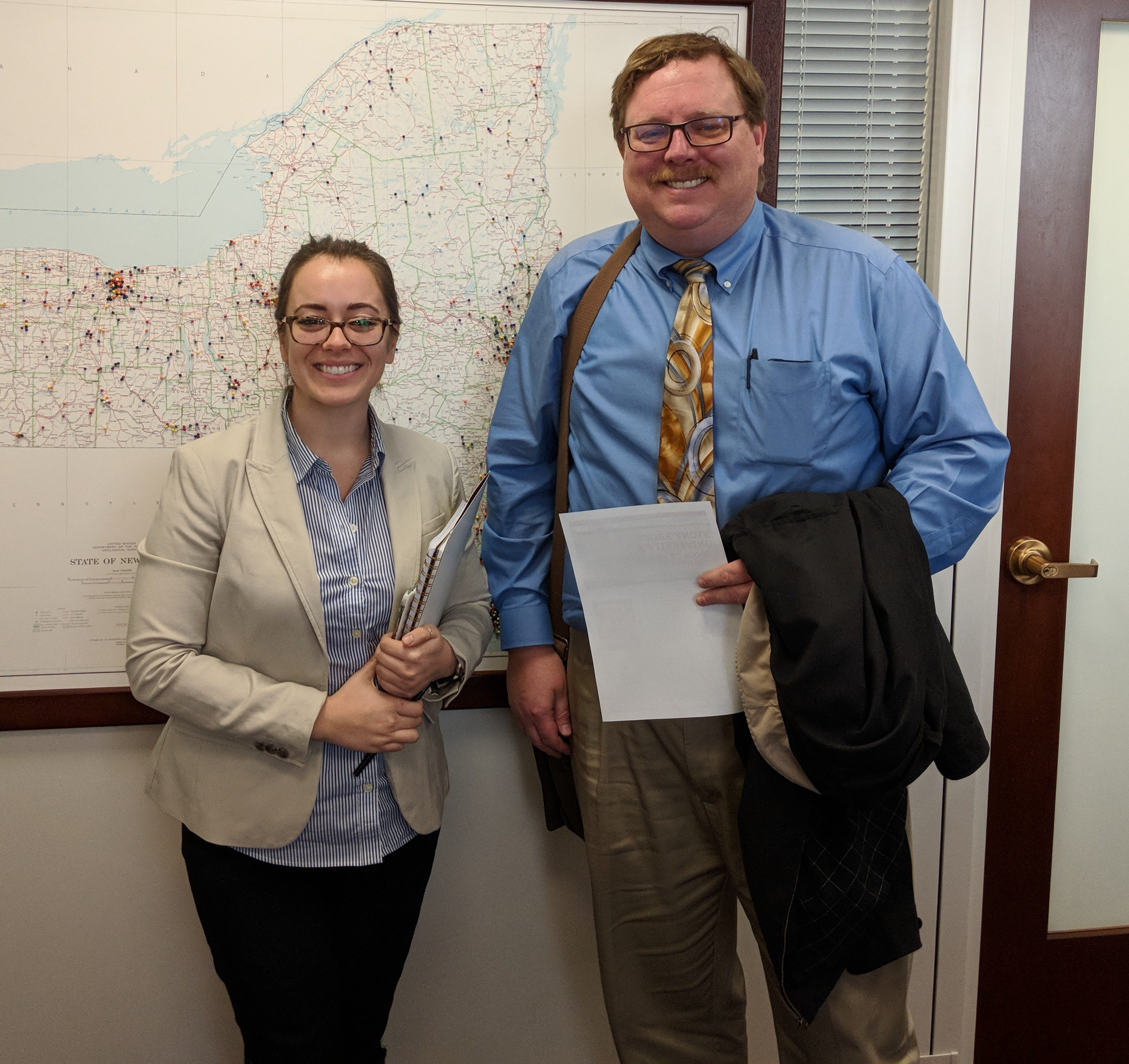Ken Lindblom and Morgan Brand, Higher Education Policy Staffer for Minority Leader Chuck Schumer, at Senator Schumer's office.