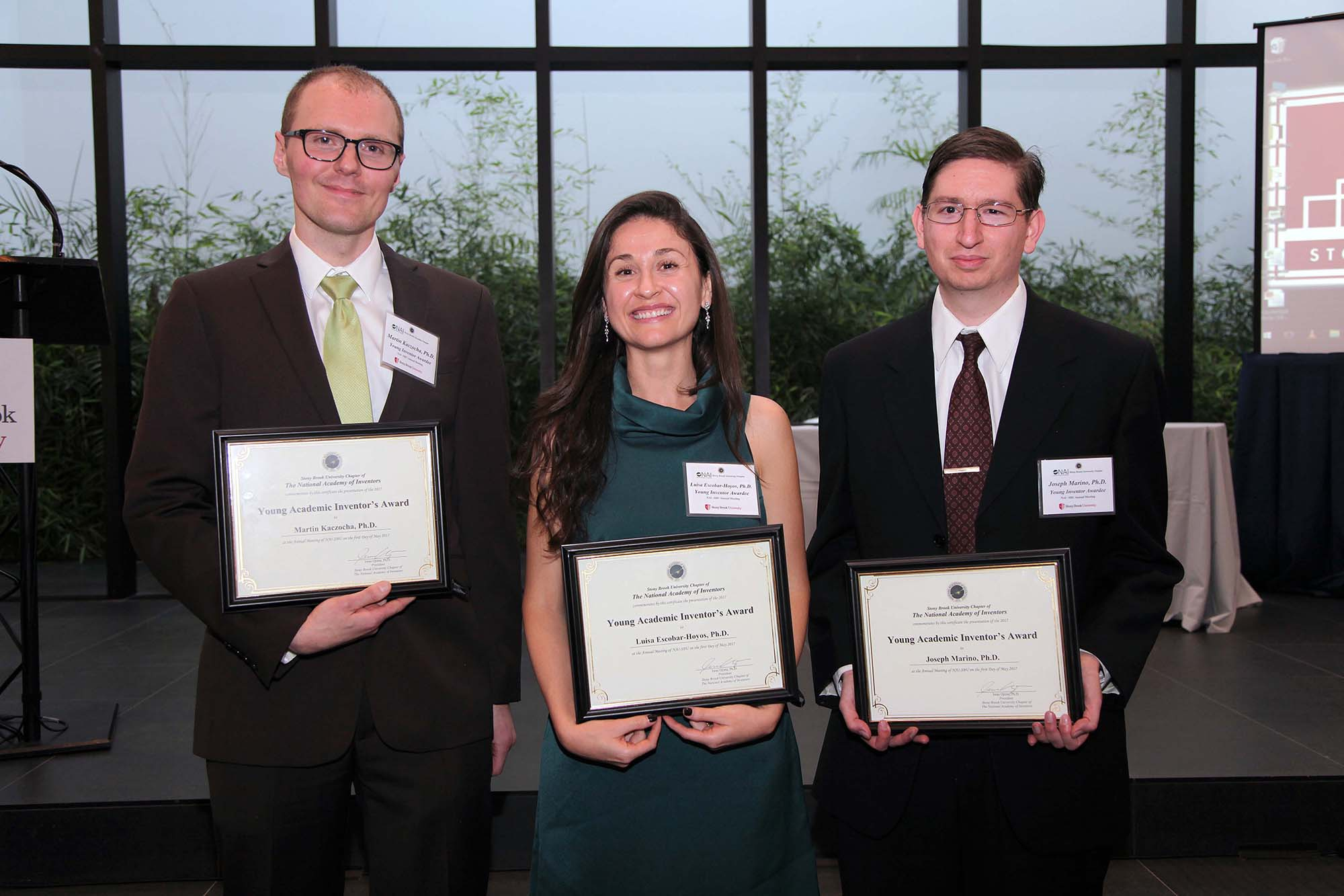 Winners of the Young Inventor's Award, from left: Martin Kaczocha, Luisa Escobar-Hoyos and Joseph Marino