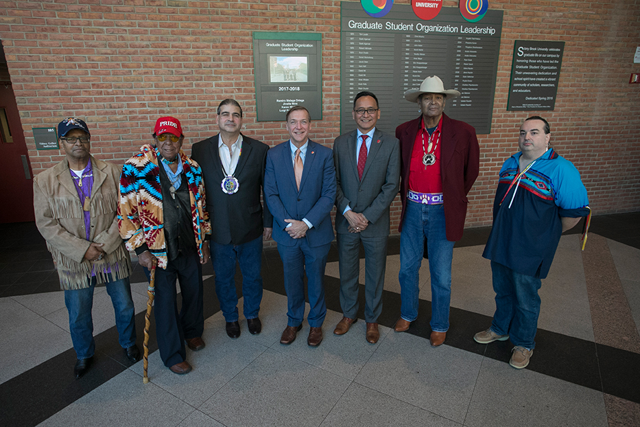President Samuel L. Stanley and Chief Diversity OfficerLee Bitsoi had a meet and greet with leadership of the Long Island Tribal Nations to celebrate Native American Heritage Month. Left to right: Martin Jones, Tribal Representative of Matinecock Nation; Chairman Osceola Townsend of Matinecock Nation; Chief Harry Wallace of Unkechaug Nation; President Stanley; Lee Bitsoi; Lubin Hunter, Tribal Representative of Shinnecock Nation; and Jay Levenson, Native American Student Organization Advisor.