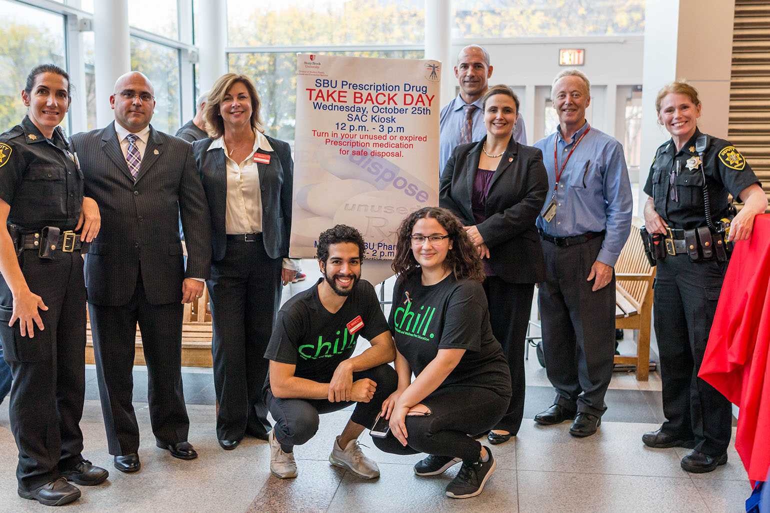 The Suffolk County Sheriff's Office, University Police, the Division of Student Health, Wellness and Prevention Services, and the CHILL peer education group joined efforts to make Take Back Day a success.