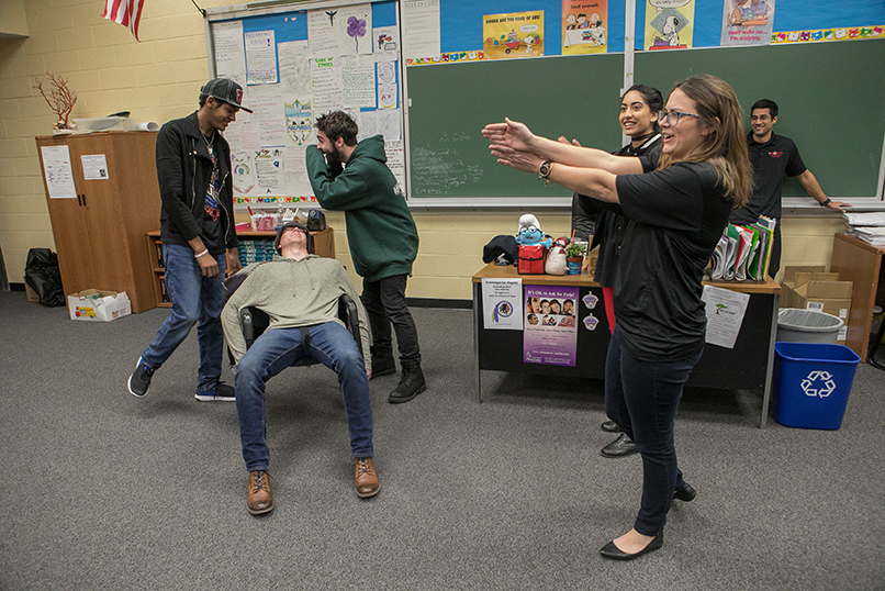 Port Jefferson Station, NY; Comsewogue High School: AOD (Alcohol & Other Drugs) CPO's Kerri Mahoney (Outreach Specialist) and Lara Hunter (Coordinator of AOD Services) along with students Joel Cohen, Rakia Syed, and Christian Rodriguez give Comsewogue students Red Watch Band Training.