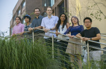 Stony Brook, NY; Stony Brook University: Staff members of the publication Frontiers. They include (L-R) Mark Mace (Physics and Astronomy), Yang Liu (Molecular and Cellular Biology), Travis Kruse (Biomedical Engineering), Dan Elton (Physics and Astronomy), Prajna Shanbogue (Biochemistry and Structural Biology), Mariola Szenk (Biomedical Engineering), and Ping He (Molecular and Cellular Biology).