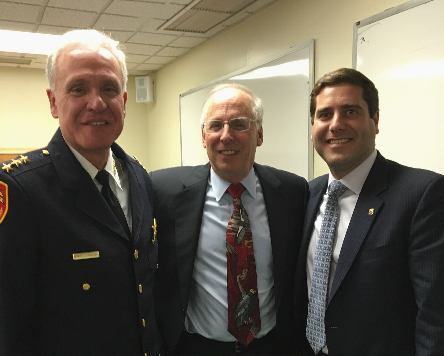Left to right: Deputy Chief of Detectives Robert Cassagne, Professor Allen Kovesdy and Police Commissioner Timothy Sini