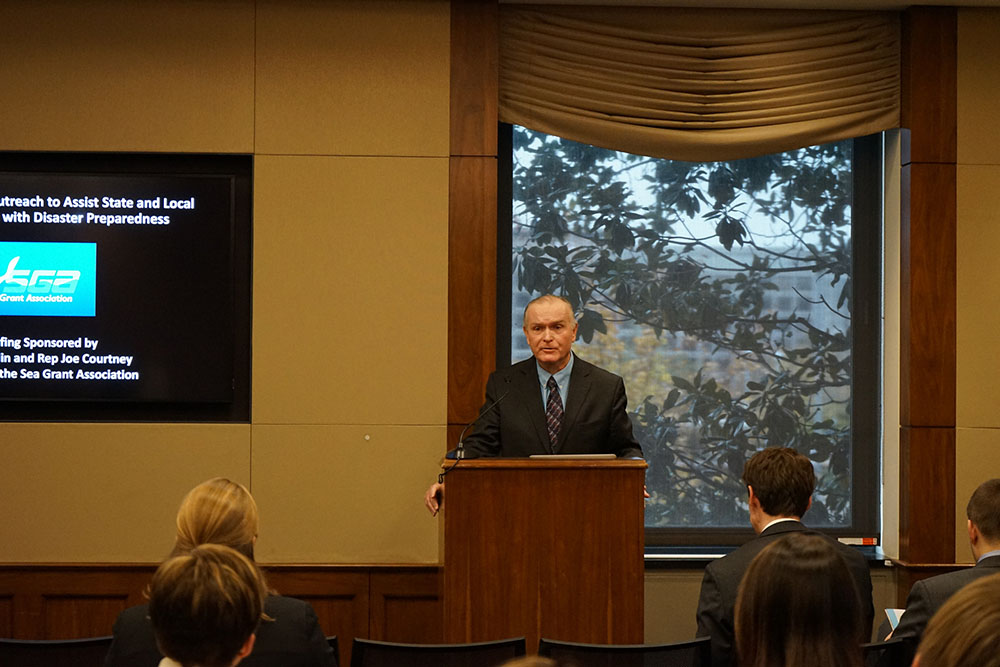 New York Sea Grant Director Bill Wise introduces Congressman Lee Zeldin at the Congressional Briefing (photo credit: Christopher Katalinas/National Sea Grant).
