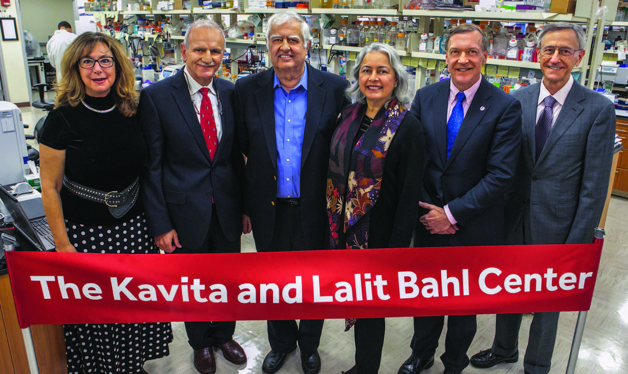 Left: At the Bahl Center unveiling, left to right: Lina Obeid, MD; Hannun; Lalit Bahl; Kavita Bahl; Stony Brook University President Samuel L. Stanley Jr; and Kenneth Kaushansky, MD, Senior Vice President for the Health Sciences and Dean of the School of Medicine.