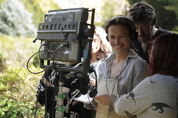 "Director Catherine Eaton on the set of her film ""The Sounding."" Photo credit: Asya Danilova/Mariya Bulat."