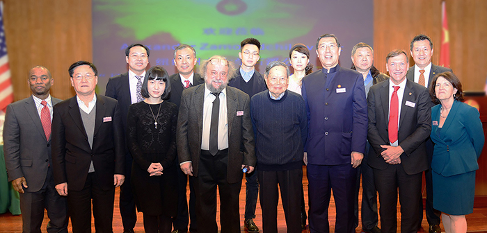 Investiture of Dr. Alexander Zamolodchikov (front, fourth from left) as the Chen Ning Yang – Wei Deng Endowed Chair in Physics and Astronomy at Bright Oceans Corporation, Beijing, on January 6, 2017. Attendees included Professor Chen Ning Yang, recipient of the Nobel Prize in Physics; President of Bright Oceans Corporation Dr. Wei Deng; the Director-General of China Association of Science and Technology Industry Parks Jing An Zhang; Stony Brook University President Samuel L. Stanley Jr.; and Stony Brook University students and their parents.