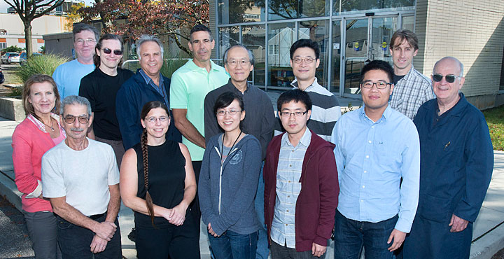 "The diamond x-ray monitor team includes from Stony Brook Wenxiang ""Owen"" Ding (front row, third from right), Tianyi Zhou (front row, second from right) and SBU Project Leader Erik Muller (back row, far right)"