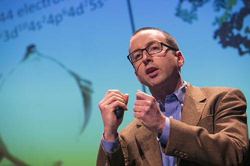 Thomas Allison presents at the 2017 Discovery Prize ceremony.