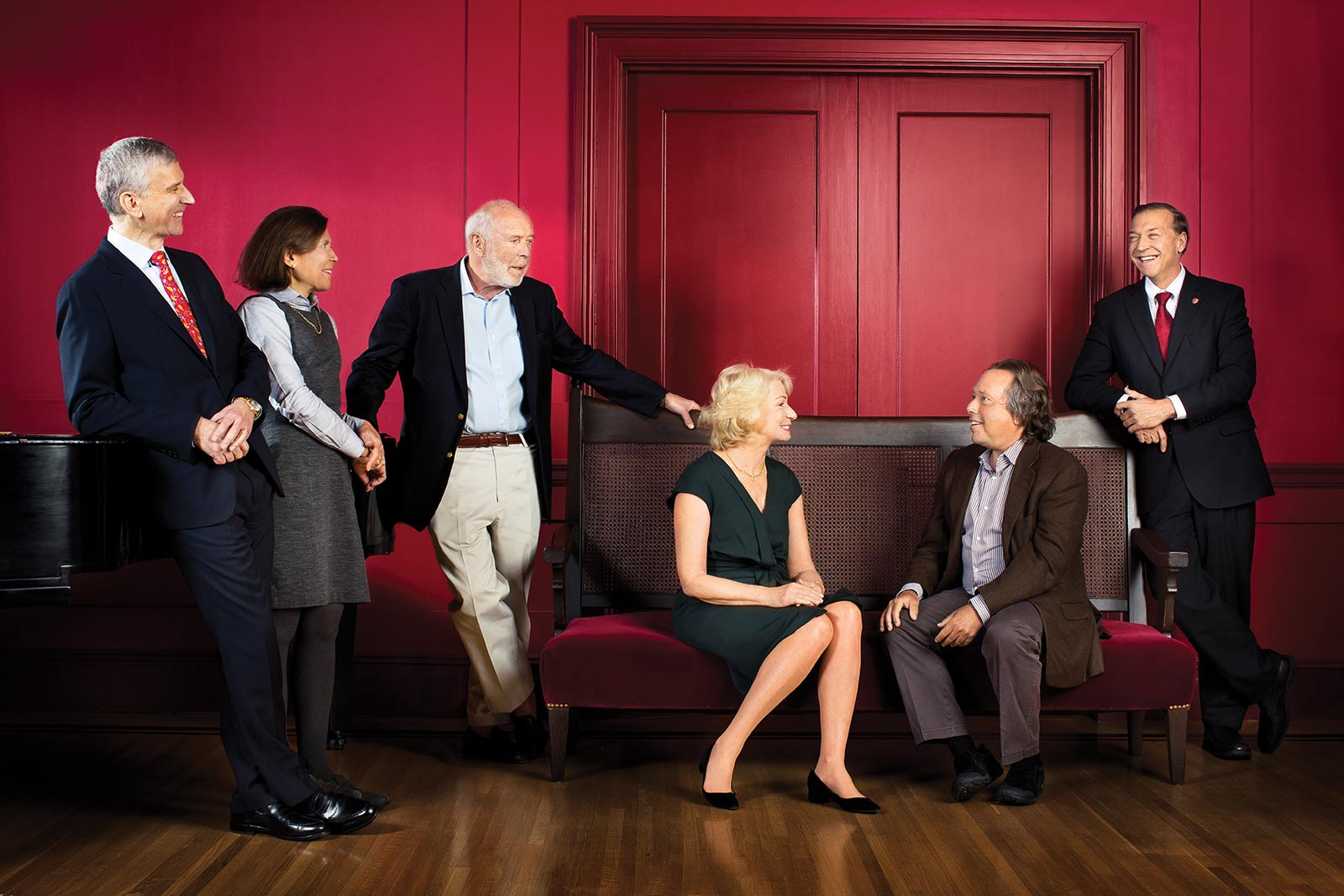 Left to right: Cary F. Staller,  Marisela H. Staller,  James H. Simons,  Marilyn H. Simons,  Richard L. Gelfond and  President Samuel L. Stanley Jr.  Not present: Glenn R. Dubin, Eva Andersson-Dubin and Peggy Bonapace Gelfond