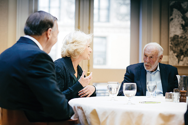 James and Marilyn Simons joined President Stanley, who convened a roundtable discussion with Campaign co-chairs to talk about the importance of the Campaign to the University's future.
