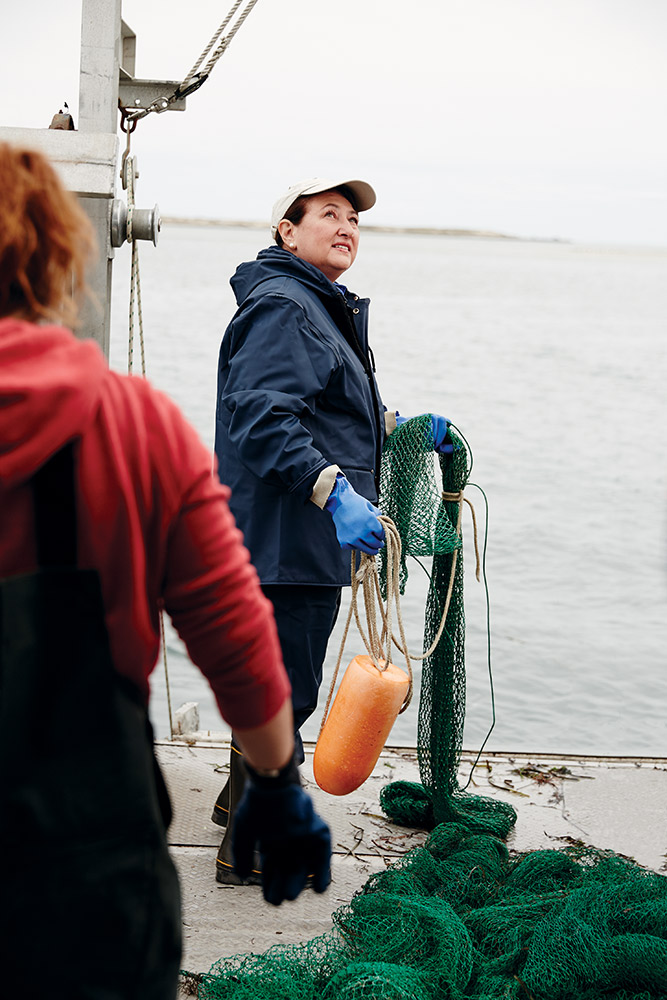 Ellen Pikitch on a trawler in Shinnecock Bay, where restoration efforts aim to use science, community involvement and partnerships to return the bay to its former health.