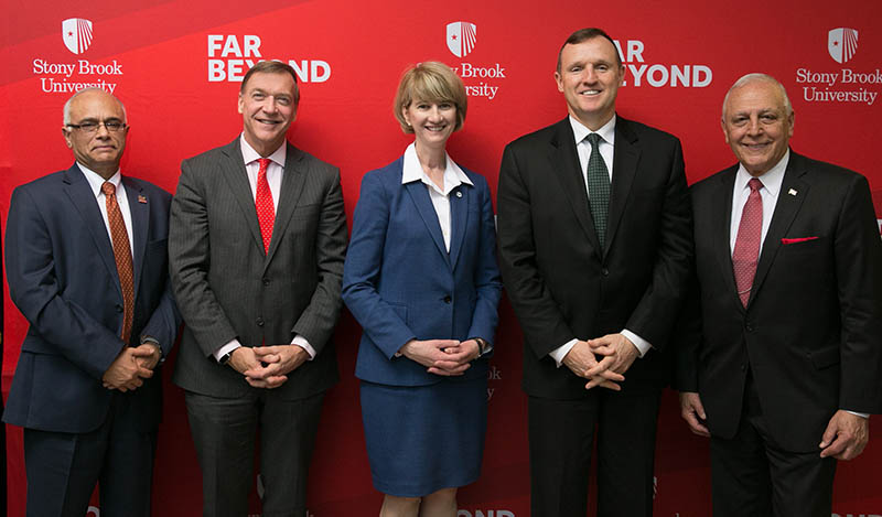 Launching the Institute of Gas Innovation and Technology are, from left, Devinder Mahajan, PhD; Stony Brook University President Samuel L. Stanley Jr.; SUNY Chancellor Kristina M. Johnson: Ken Daly, President of National Grid New York; and Robert Catell, Chairman of the Advanced Energy Center.