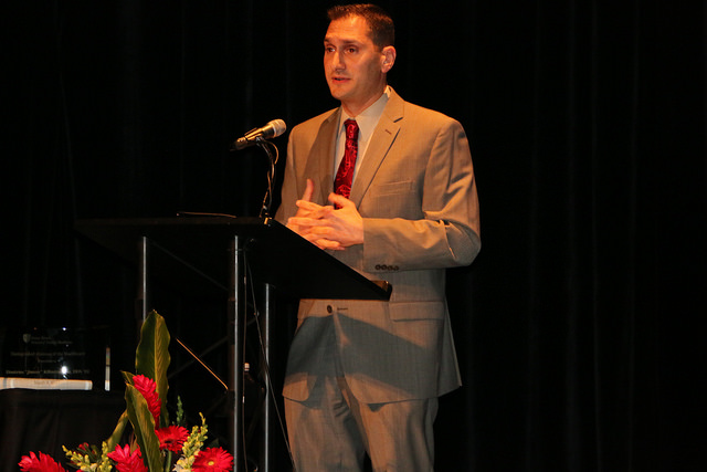 Dr. Jimmy Kilimitzoglou accepting 2017 Distinguished Alumni Award