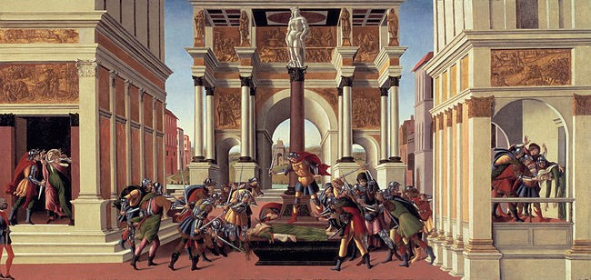 The story, based upon an actual historical incident that took place in 501 B.C. in Ancient Rome, was the subject of some famous paintings, such as this one by Boticelli.