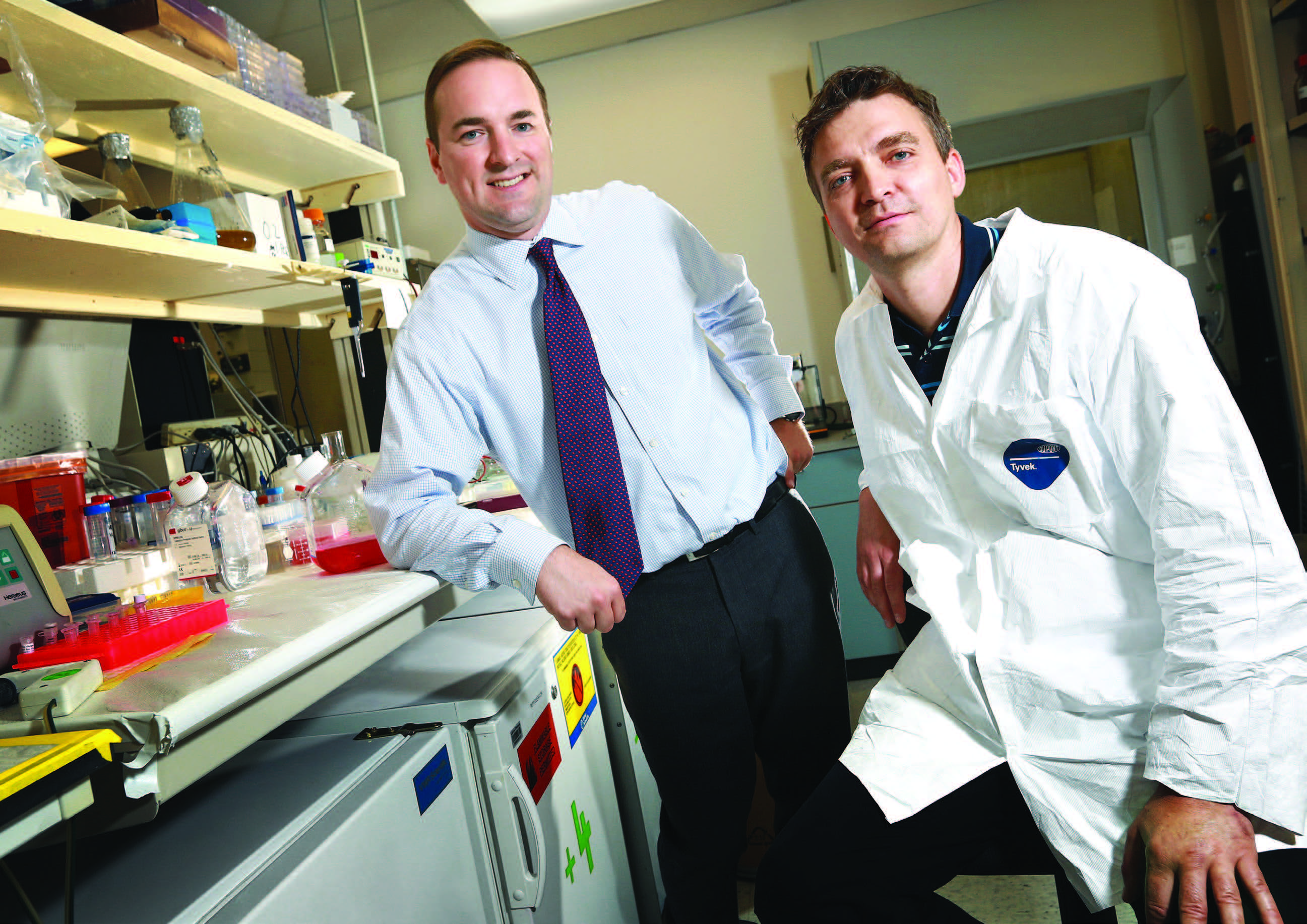 John Robert Coleman, PhD '08 (left) and Steffen Mueller, PhD '02 co-founded Codagenix Inc. with Wimmer.