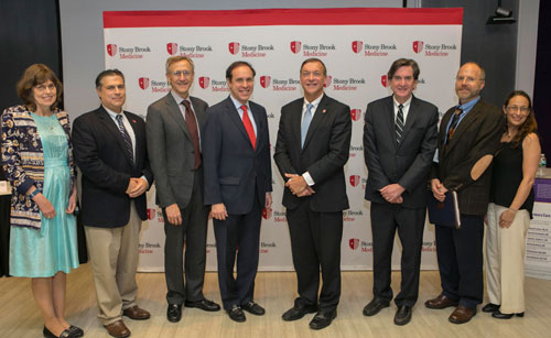 Left to right: Karen Southwick, MD; Louis Manganas, MD, PhD, Assistant Professor, Department  of Neurology, Stony Brook Medicine; Kenneth Kaushansky, MD, Senior Vice President,  Health Sciences, and Dean, Stony Brook University School of Medicine;  Howard A. Zucker, MD, JD, NYS Department of Health (NYSDOH) Commissioner;  Samuel L. Stanley Jr., MD, Stony Brook University President; Burton Rochelson, MD,  Chief, Maternal Fetal Medicine, and Director, Maternal-Fetal Medicine Fellowship  Program, Northwell Health; Philip Kurpiel, PhD MPH, Program Supervisor,  MARO Regional Epidemiology Program, NYSDOH; and Danielle Greene, DrPH.