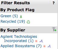 filter results options showing filter category By Product Flag with green and recycled options and By Supplier category with Agilent Technologies incorporated and applied biosystems options