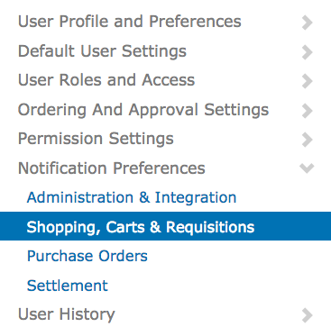 Left side options in My Profile showing User Profile and Preferences; Default User Settings; User Roles and Access; Ordering And Approval Settings; Permission Settings; Notification Preferences with subtopics of Administrationg & Integration, Shopping Carts & Requisitions, Purchase Orders, and Settlement; and User History