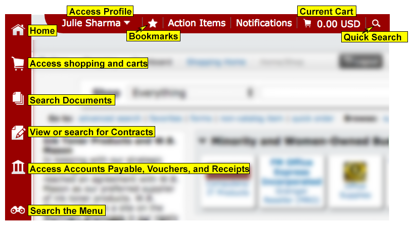 Wolfmart homepage showing tool bar on left from top to bottom with home; shopping; document search; view and search for contracts; accounts payable, vouchers, and receipts; and menu search. Top tool bar showing from left to right person's name with access to profile, access bookmarks, actions items, notifications, access to current shopping cart and quick search